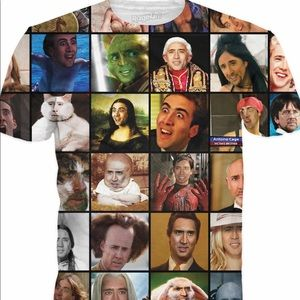 Tops - Nicholas Cage rage face double sided shirt